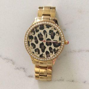 Gold/Leopard Betsey Johnson Watch
